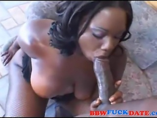 Fat ebony woman fat fucked hard by black guy with huge cock and swallows his...