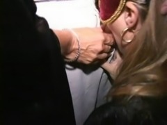 Masked MILF Tia and her crazy horny friends fuck at orgy free