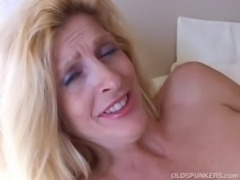 Big tits blonde MILF in stockings free