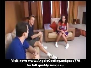 Amateur wonderful brunette cheerleader teen talking with two guys