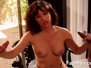 Delicious redhead in leopard underwear having a lot of fun with two big cocks