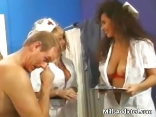 Two busty MILF nurses get hairy pussy