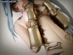 Beautiful animated girl sucking