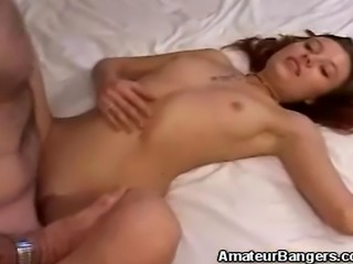 We have this lovely amateur babe in this clip as she enjoys that hard cock...