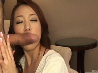 Playful and little bit dirty Asian lady displaying and teasing with her fine ass in thong panty before she pulled down her man's pants and start giving a mouth-job to her man's already stiff cock. Giving it a sloppy blowjob and a bit of a handjob while playing with her cunt and taking all it's jizz all over her lips.