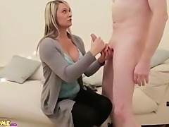 MILF wanks and sucks naked CFNM guy until he cums on her