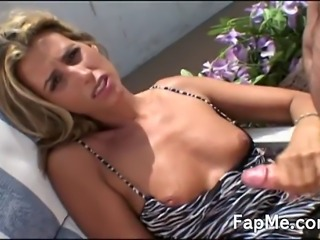 Wonderful blonde slut rubbing her tight shaved pussy and wanking a cock outdoors