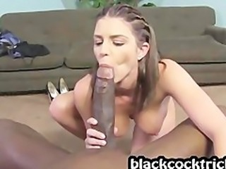 Girl with huge tits rides ebony pipe