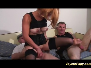 Papy and his friend fucking a big tits redhead babe