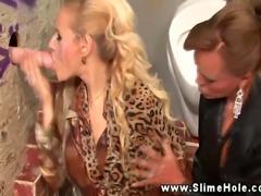 Classy glory hole lesbians sprayed with bukkake together