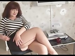 Big tits mature in short skirt and stockings