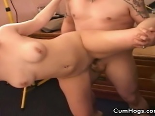 Sexy Melanie shows off her body to a guy before going down and sucking his...