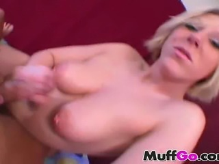 Busty blonde beauty Christal has pierced nipples and knows how to wank