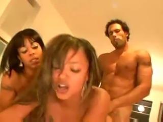 Hot Ebony babe in hot group action.