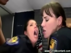 Two female cops in uniform get anally rammed free