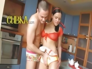girl couple fucking in the kitchen hard