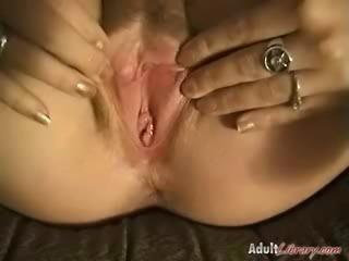 Masturbate in sexy stockings with dildo