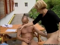 Nasty blonde slut goes crazy sucking