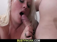Service man bangs hot looking blonde fatty