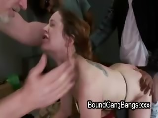 Pale bound redhead interracial ass spanked and gangbang fucked