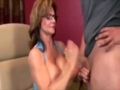 Busty cougar wearing glasses jacking off free