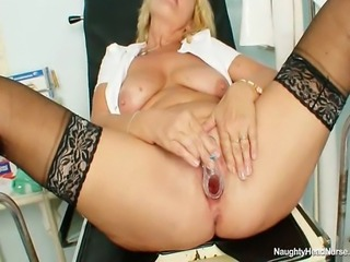 Big natural boobs elder cougar works as a head nurse in a hospital. When...