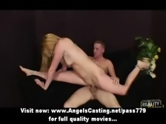 Skinny blonde babe fucked hard from behind in extreme positions