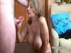 Latina Sandie swallows a lucky geeks stiff cock free