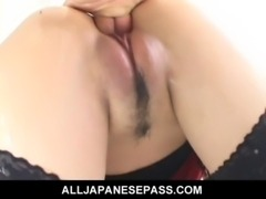 Horny cougar Naami Hasegawa in fishnets teasing her pussy free