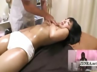 Subtitled ENF Japanese schoolgirl has CMNF oil massage