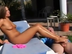 Old guy fucks her lotion covered feet