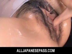 Japanese honey Karin Tsubaki oiled up for hot sex free