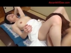 Mature Woman Getting Her Hairy Pussy Licked Fingered By Young Guy On The Desk...