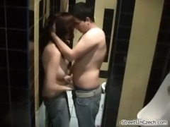 Drunk girl has public sex in a restroom