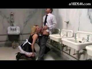 Busty Maid Gagged With Her Pantys Spanked Fucked While Cleaning Sucking Cock In The Toilette free