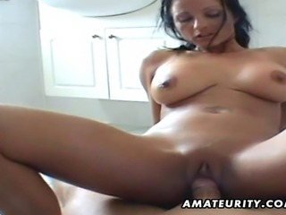 A busty brunette amateur Milf homemade hardcore action with blowjob and fuck...