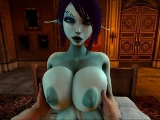 Soria's big titties get played with 3D