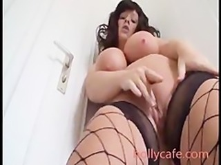 Slut With Huge Tits And Fishnets Fucks Both Of Her Holes