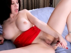 Busty natural mom teases her giant boobs and hard nipples through sheer lingerie and pumps the vibrator inside and out of her hairy pussy
