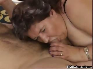Nasty old slut sucks on an hard cock part6