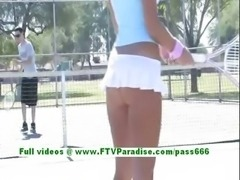 Dara lovely blonde babe playing tennis and flashing boobs