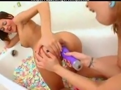 Two Teenagers Playing With Their Ass Hols In The Bathtub. lesbian girl on...