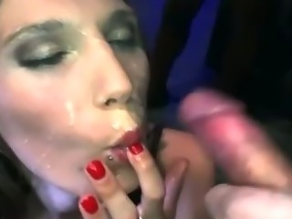Bukkake fetish slut fuck suck and cumshots