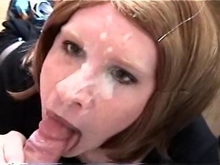 Vintage Carli gets massive facial from little white dick