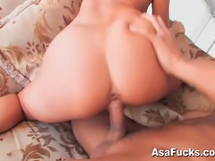 Asa does a sexy strip and tease before really having some great sex with her...