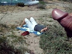 public masturbation cum on the beach
