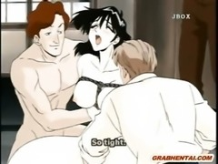 Bondage hentai wifehouse fingered clitoris and fucked by bandits