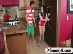 Stepmom MILF busts teen couple fucking in her kitchen free