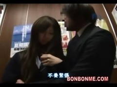 japanese schoolgirl gives lucky guy a blowjob in elevator 02 free
