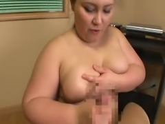 Christine puts her tits to good use and gets a guy off.